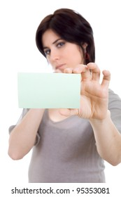 young beautiful woman showing a card, focus on the card
