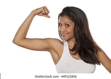 young beautiful woman showing her beautiful arm