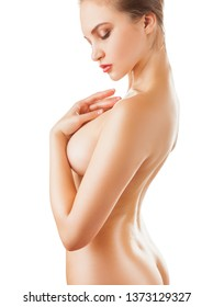 Young beautiful woman with a slim body isolated on a white background