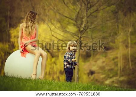 Small boy big woman