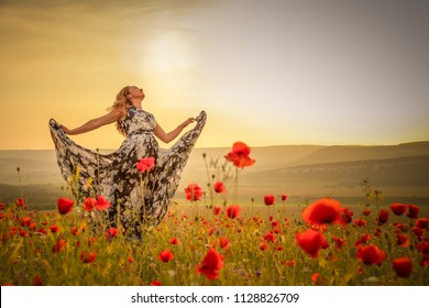 Young beautiful woman in spring field. concept of freedom. walking in amazing poppy field. Warm sunset colors. Soft colors.