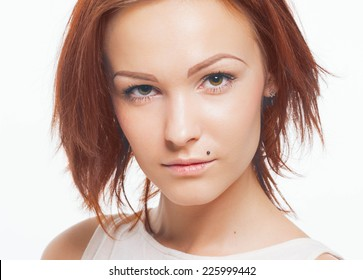 young beautiful woman studio portrait face with clear healthy skin
