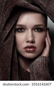 Young beautiful woman with stylish glamorous make-up