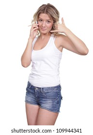 Young beautiful woman talking on cell phone