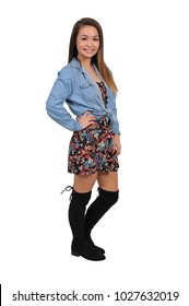 Young Beautiful Woman teenager girl striking a pose