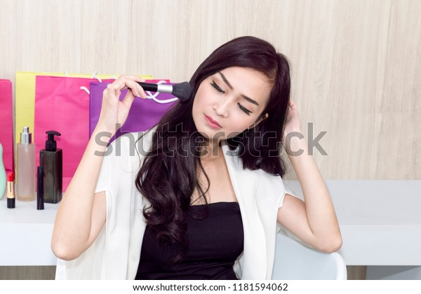 Young Beautiful Woman Test Makeup Face Stock Photo (Edit Now