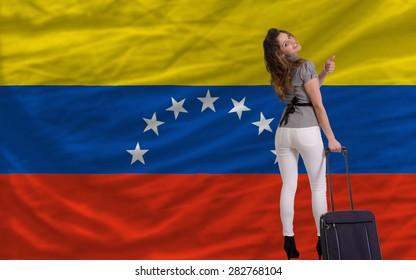 young beautiful woman is traveling to venezuela