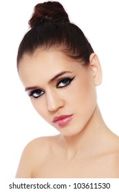 Young beautiful woman with trendy make-up on white background