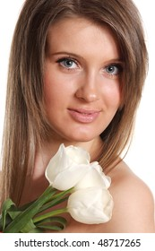 young beautiful woman with tulip flower