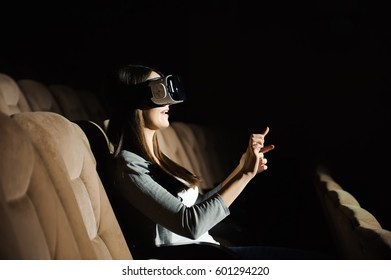 Young Beautiful Woman Using VR