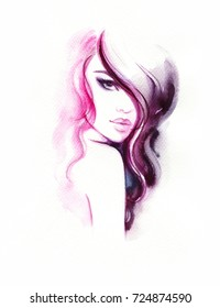 Young beautiful woman. watercolor painting. fashion illustration