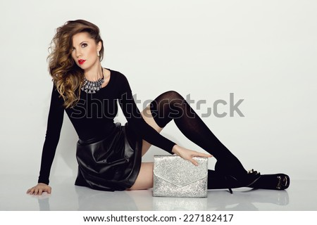 c7ed89b6b350 Young Beautiful Woman Wearing Black Leather Stock Photo (Edit Now ...