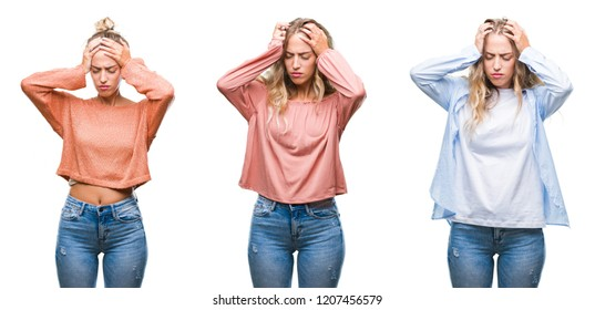 Young beautiful young woman wearing casual look over white isolated background suffering from headache desperate and stressed because pain and migraine. Hands on head.