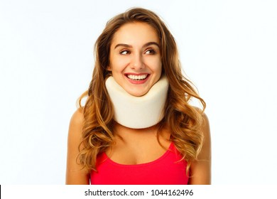 Young beautiful woman wearing medical collar
