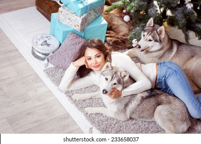 young beautiful woman wearing white sweater lying near a Christmas tree with dogs.Husky