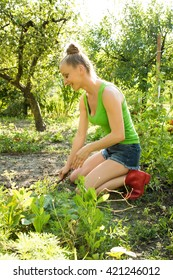 A young beautiful woman working in a garden.