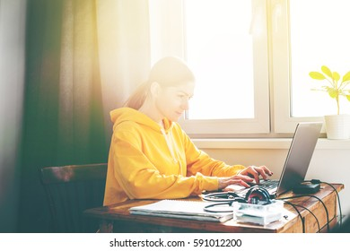 Young Beautiful Woman Working at Her Home Office Computer Documents Laptop Phone Businesswoman Working by Internet Home Table Comfortable Clothes