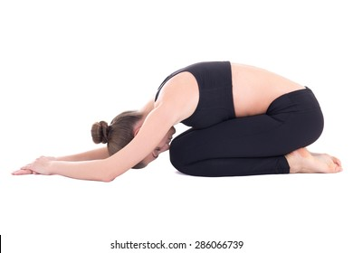 """young beautiful woman in yoga pose """"child"""" isolated on white background"""