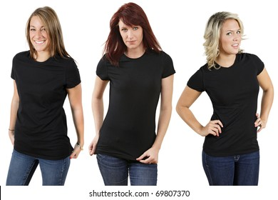 Young beautiful women with blank black shirts. Ready for your design or logo.