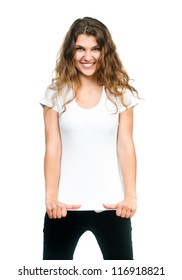 Young beautiful women posing with blank white t-shirts. Ready for your design