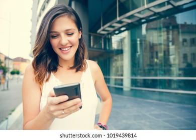 Young Beautiful Women A Smartphone