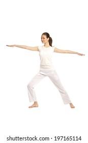 young beautiful yoga posing on a studio background31