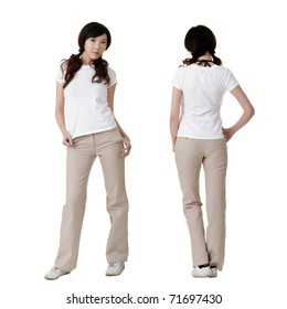 Young beauty with blank white shirt, ready for your design or logo.