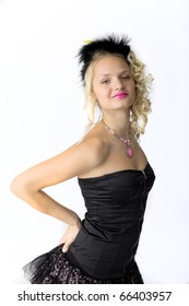 young beauty blond girl in cabaret costume