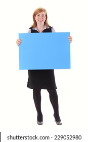 Young beauty business woman hold empty paper