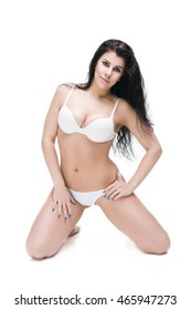 Young beauty caucasian woman in lingerie isolated on white background, perfect female body