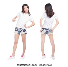 Young beauty girl with blank white shirt, ready for your design or logo, model is a asian woman