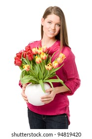 Young beauty girl holding bouquet with tulips flower