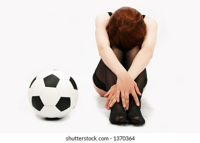 young beauty girl with soccer ball