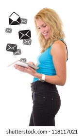 Young beauty girl with tablet - checking emails
