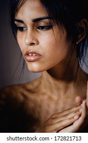 young beauty hispanic girl close up, emotional portrait