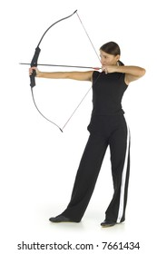 Young, beauty holding bow and taking aim at something. Isolated on white in studio. Whole body, side view