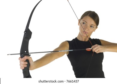 Young, beauty holding bow and taking aim at something. White background, front view