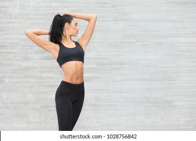 young beauty stylish sports girl in sportswear