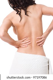 Young beauty woman with back pain