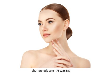 Young Beauty Woman with Clean Fresh Glowing Skin. Beautiful girl. Cosmetology and Facial Treatment, spa.