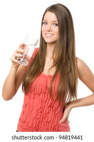 Young beauty woman holding water glass and looking at camera