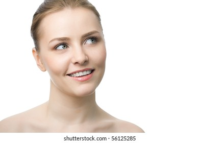 young beauty woman over white background