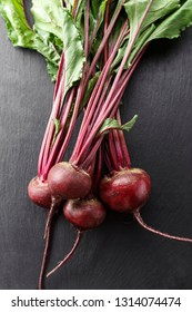 young beet harvest with tops on a black background. space for text
