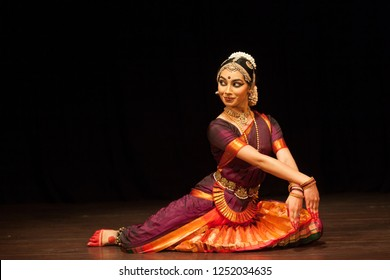 Young Bharatnatyam female artist looks at her love coyly during 'Manamohana event' by Chithkala school of dance on December 6,2018 at Sevasadan hall in Bengaluru,India