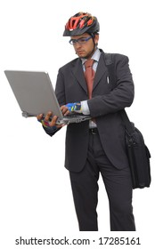 Young bicycle rider in suit with laptop, against a white background