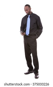 young black business man using cellphone on white background