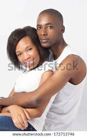 Black couple cuddling