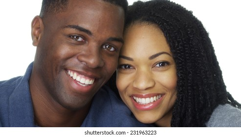Young black couple in love leaning head against each other