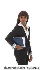 Young black female lawyer with legal book under arms
