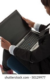 Young black female with open laptop in lap
